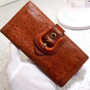 Fendi 'B Buckle' Cognac XL Bi-fold Checkbook
